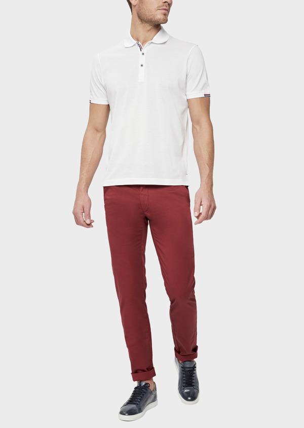 Polo manches courtes Slim en coton uni blanc - Father and Sons 38782
