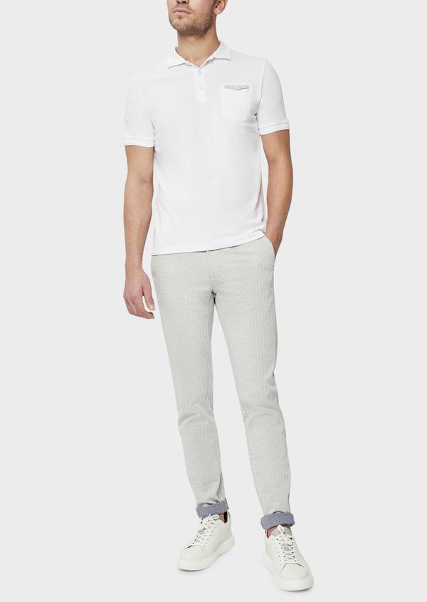 Polo manches courtes Slim en coton uni blanc - Father and Sons 38791