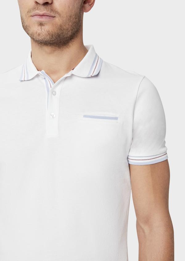 Polo manches courtes Slim en coton uni blanc - Father and Sons 39401