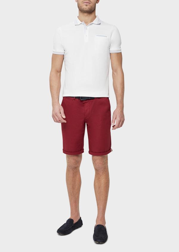 Polo manches courtes Slim en coton uni blanc - Father and Sons 39399