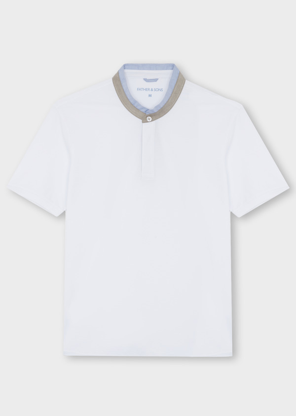 Polo manches courtes Slim en coton uni blanc - Father and Sons 40632