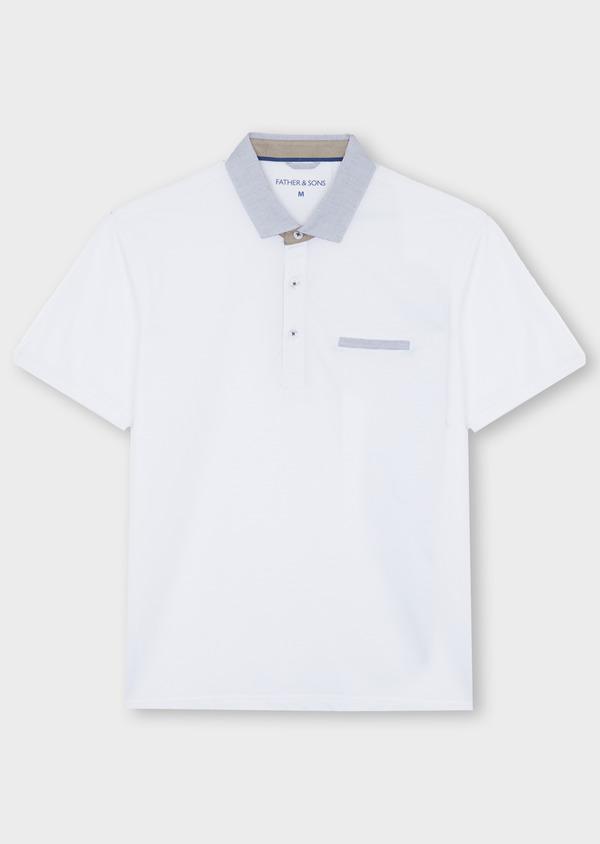 Polo manches courtes Slim en coton uni blanc - Father and Sons 40641