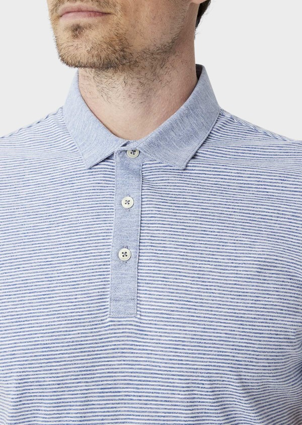 Polo manches courtes Slim en coton à fines rayures blanches et bleues - Father and Sons 39882