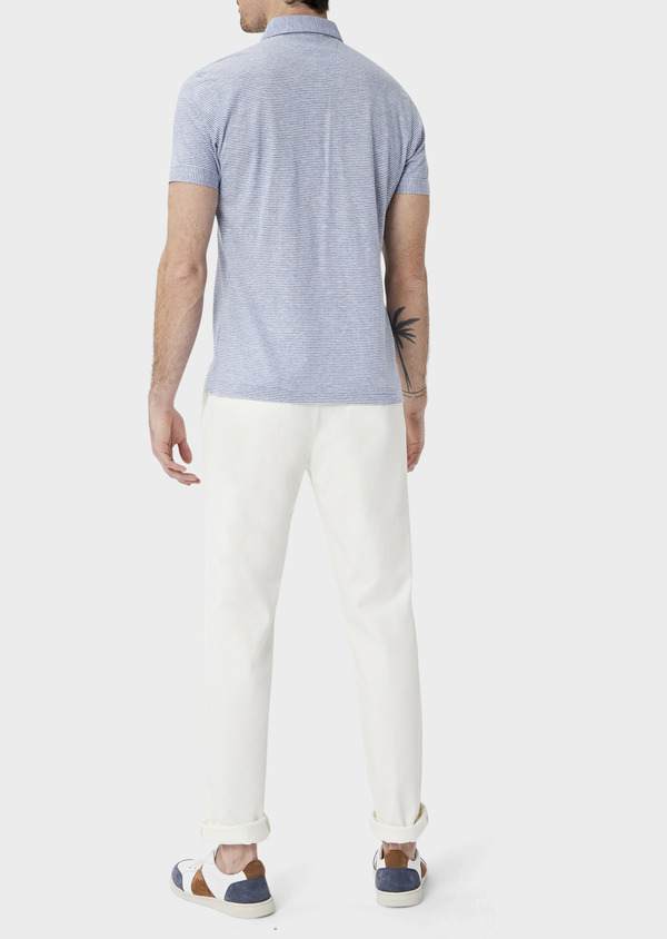 Polo manches courtes Slim en coton à fines rayures blanches et bleues - Father and Sons 39881