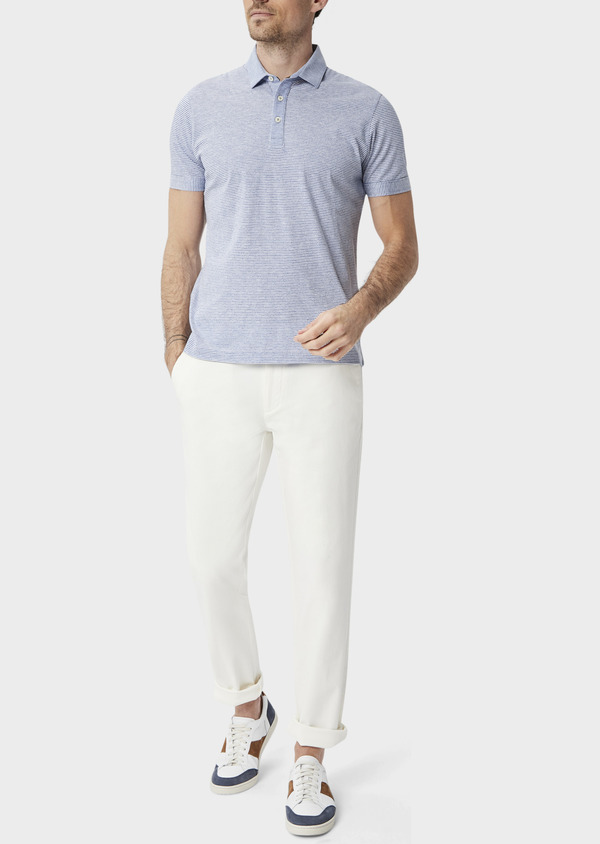 Polo manches courtes Slim en coton à fines rayures blanches et bleues - Father and Sons 39880