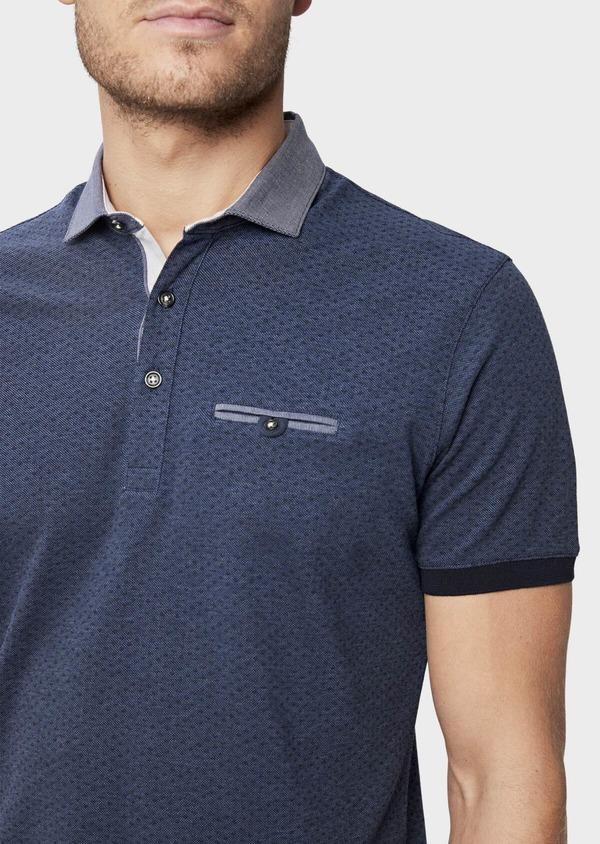 Polo manches courtes Slim en coton bleu à motifs géométriques - Father and Sons 38757