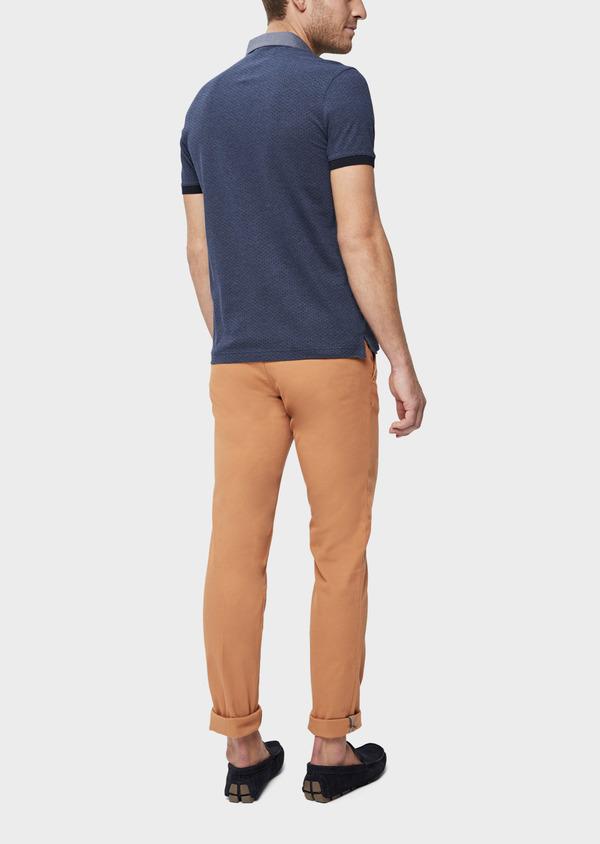 Polo manches courtes Slim en coton bleu à motifs géométriques - Father and Sons 38756