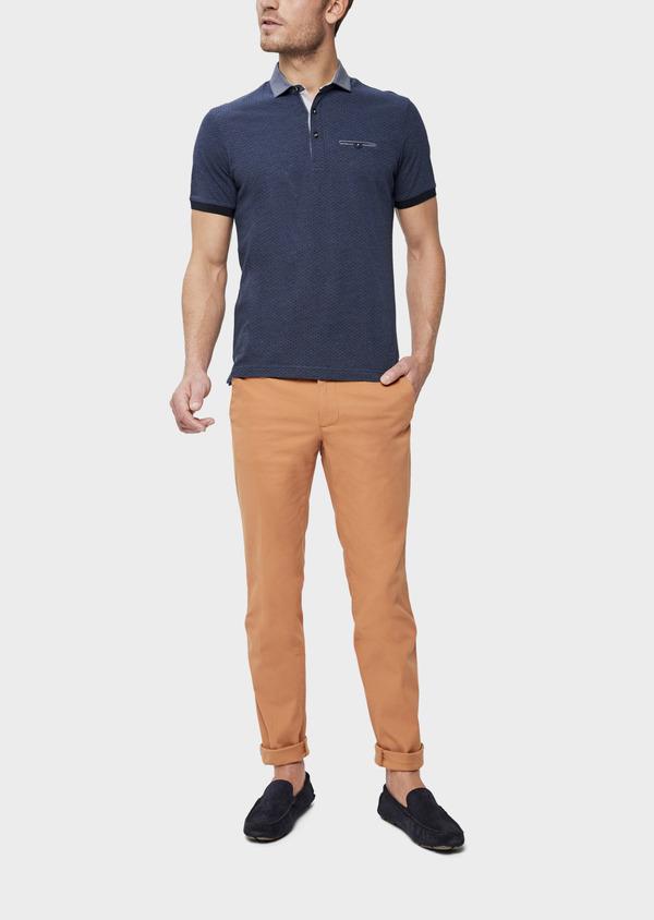 Polo manches courtes Slim en coton bleu à motifs géométriques - Father and Sons 38755