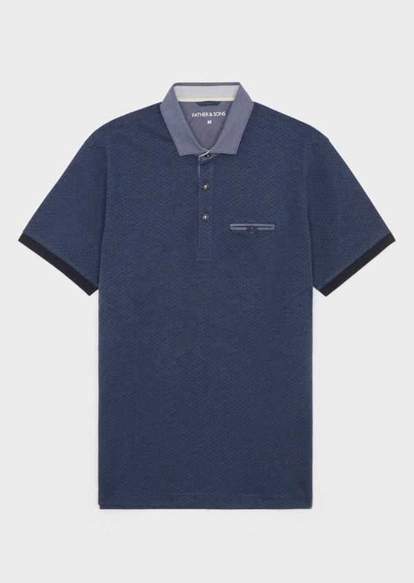 Polo manches courtes Slim en coton bleu à motifs géométriques - Father and Sons 38753