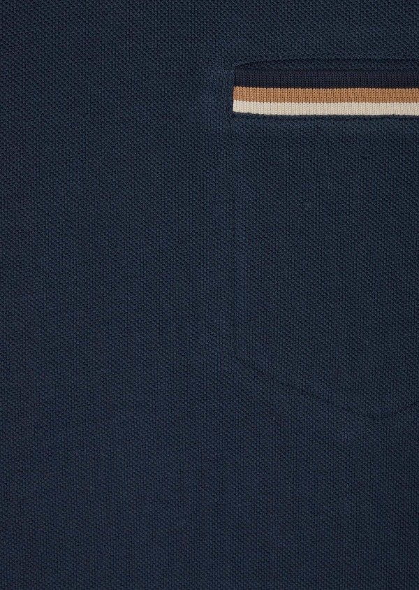 Polo manches courtes Slim en coton uni bleu indigo - Father and Sons 39894