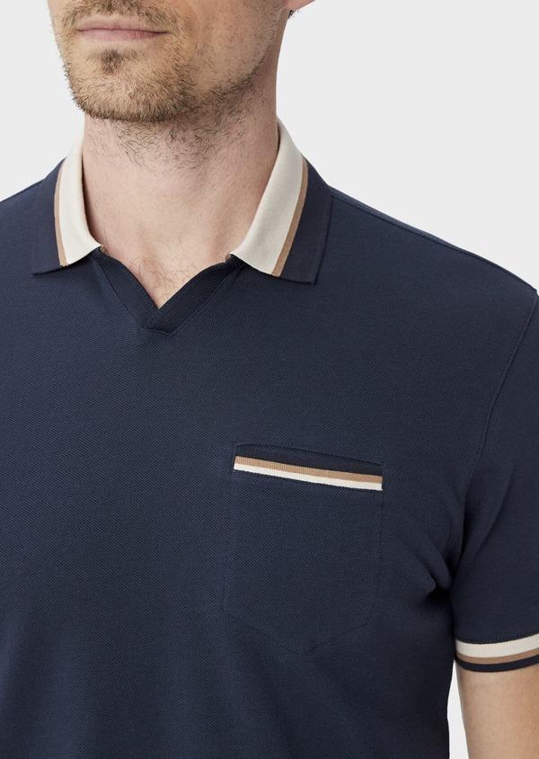 Polo manches courtes Slim en coton uni bleu indigo - Father and Sons 39897