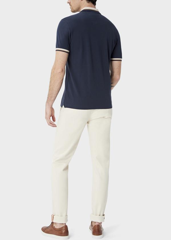 Polo manches courtes Slim en coton uni bleu indigo - Father and Sons 39896