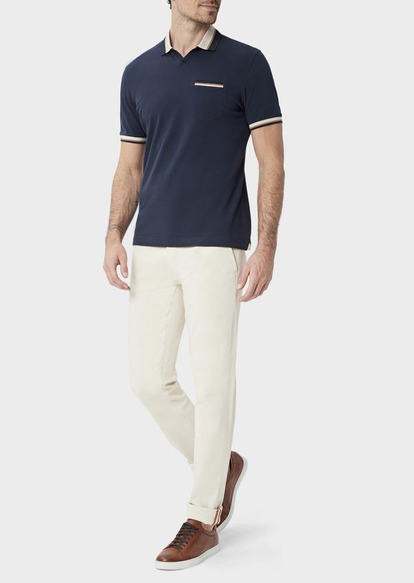 Polo manches courtes Slim en coton uni bleu indigo - Father and Sons 39895
