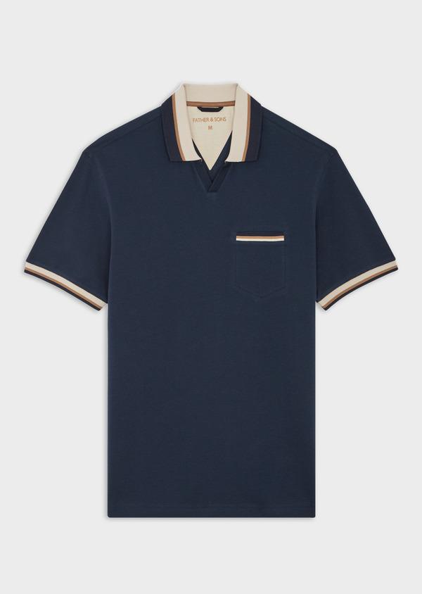 Polo manches courtes Slim en coton uni bleu indigo - Father and Sons 39893