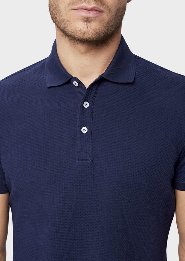 Polo manches courtes Slim en coton uni bleu indigo - Father and Sons 38779