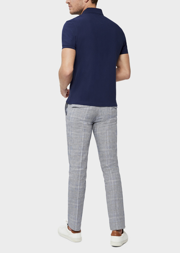 Polo manches courtes Slim en coton uni bleu indigo - Father and Sons 38778