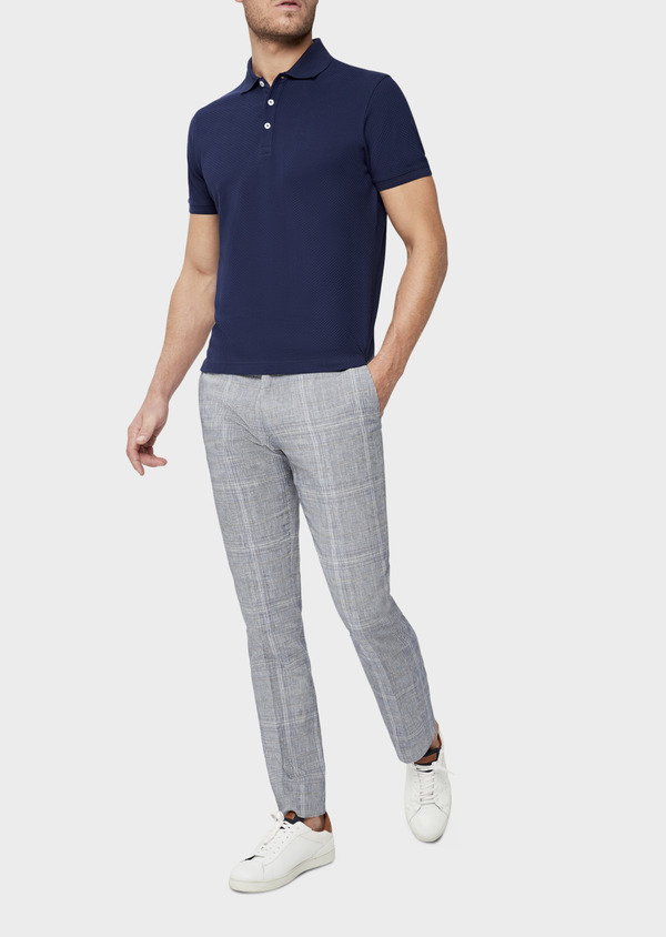 Polo manches courtes Slim en coton uni bleu indigo - Father and Sons 38777