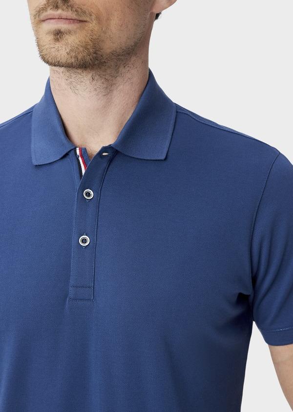 Polo manches courtes Slim en coton uni bleu - Father and Sons 40066