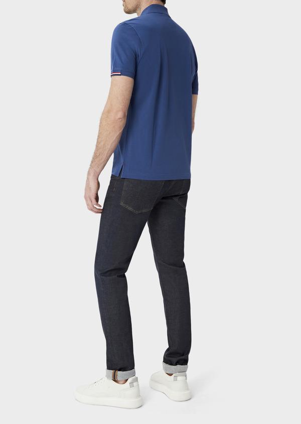 Polo manches courtes Slim en coton uni bleu - Father and Sons 40065