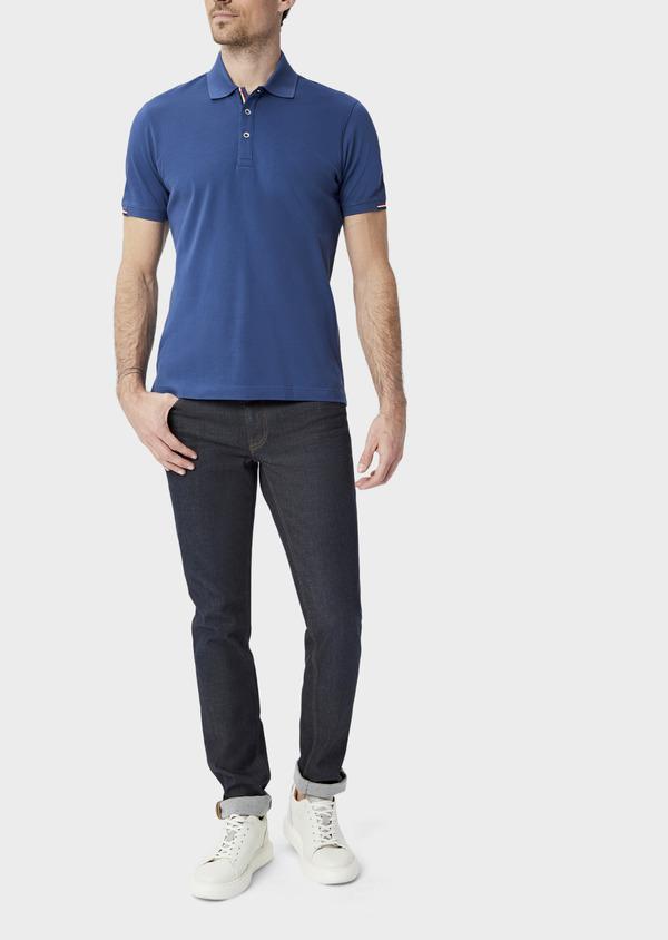 Polo manches courtes Slim en coton uni bleu - Father and Sons 40064