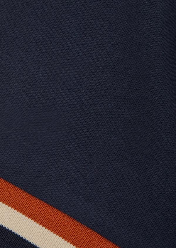 Polo manches courtes Slim en coton uni bleu indigo chiné - Father and Sons 40073