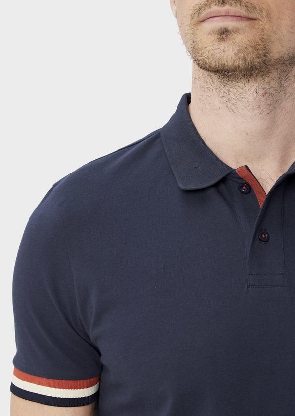 Polo manches courtes Slim en coton uni bleu indigo chiné - Father and Sons 40076