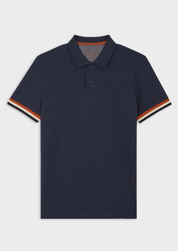 Polo manches courtes Slim en coton uni bleu indigo chiné - Father and Sons 40072