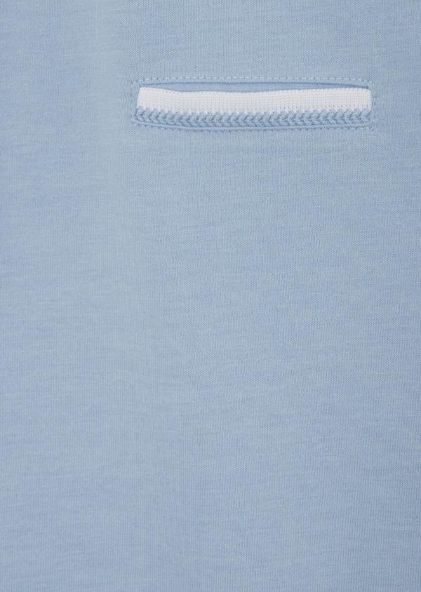 Polo manches courtes Slim en coton uni bleu chambray - Father and Sons 39909