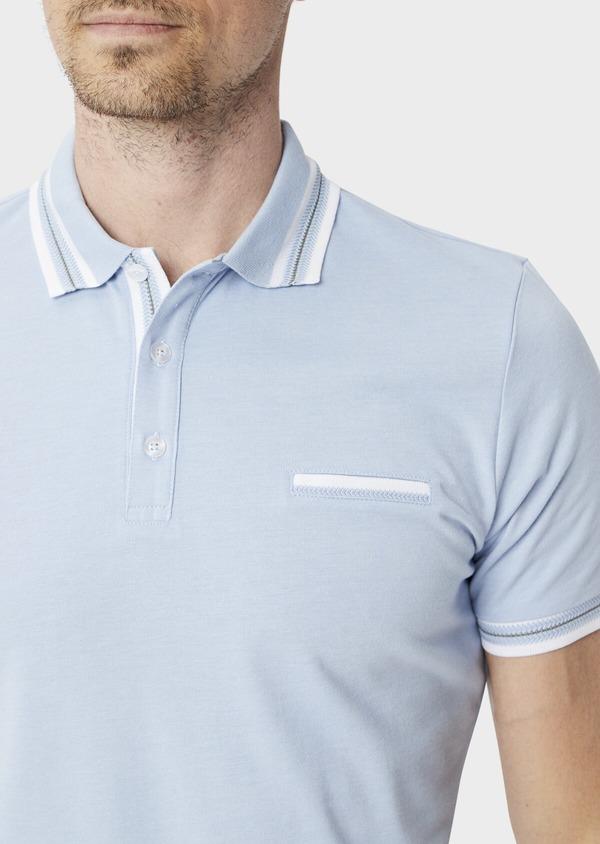 Polo manches courtes Slim en coton uni bleu chambray - Father and Sons 39912