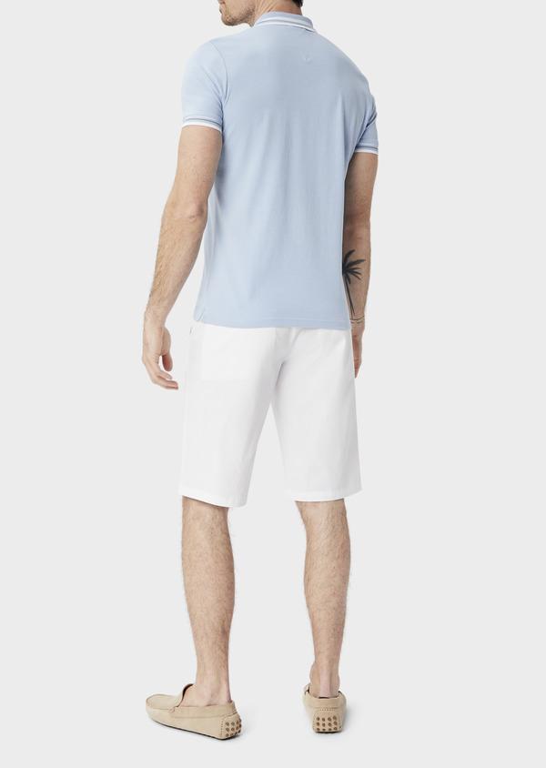 Polo manches courtes Slim en coton uni bleu chambray - Father and Sons 39911