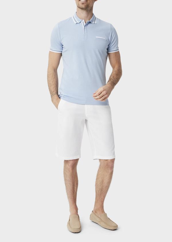 Polo manches courtes Slim en coton uni bleu chambray - Father and Sons 39910
