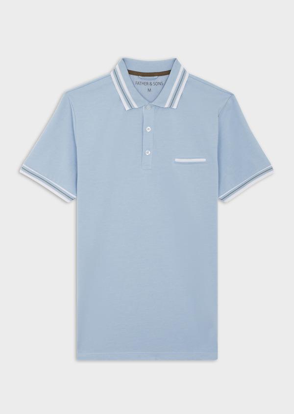 Polo manches courtes Slim en coton uni bleu chambray - Father and Sons 39908