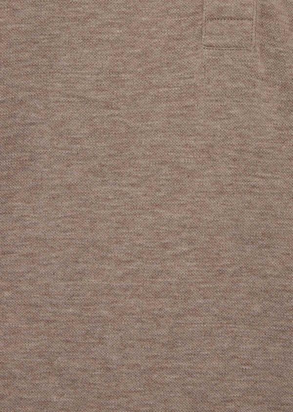 Polo manches courtes Slim en coton uni beige chiné à col officier - Father and Sons 39869