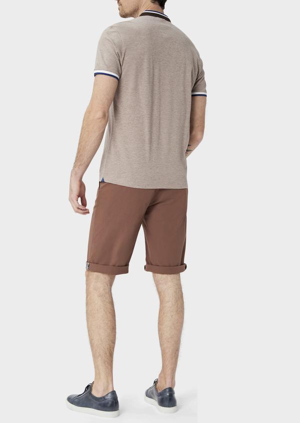 Polo manches courtes Slim en coton uni beige chiné à col officier - Father and Sons 39871