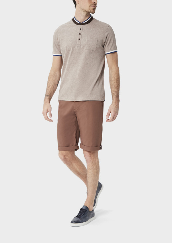 Polo manches courtes Slim en coton uni beige chiné à col officier - Father and Sons 39870