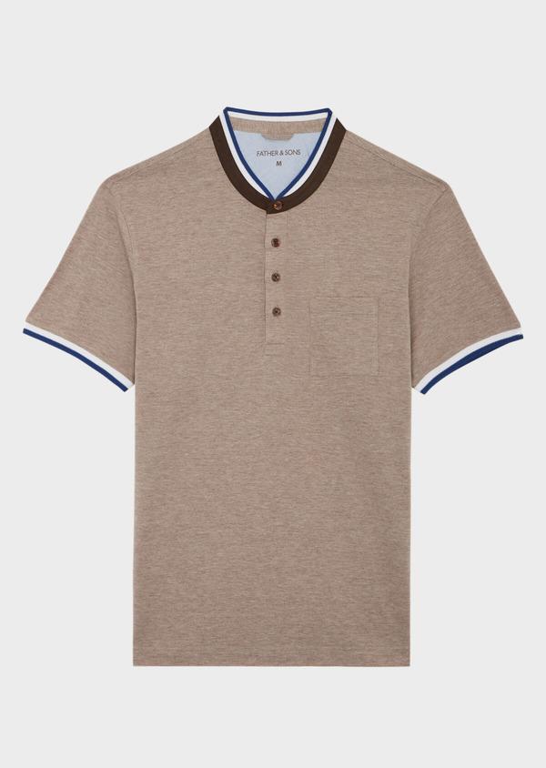 Polo manches courtes Slim en coton uni beige chiné à col officier - Father and Sons 39868