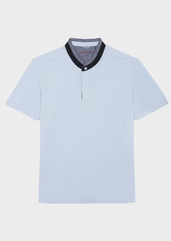 Polo manches courtes Slim en coton uni bleu ciel - Father and Sons 40636