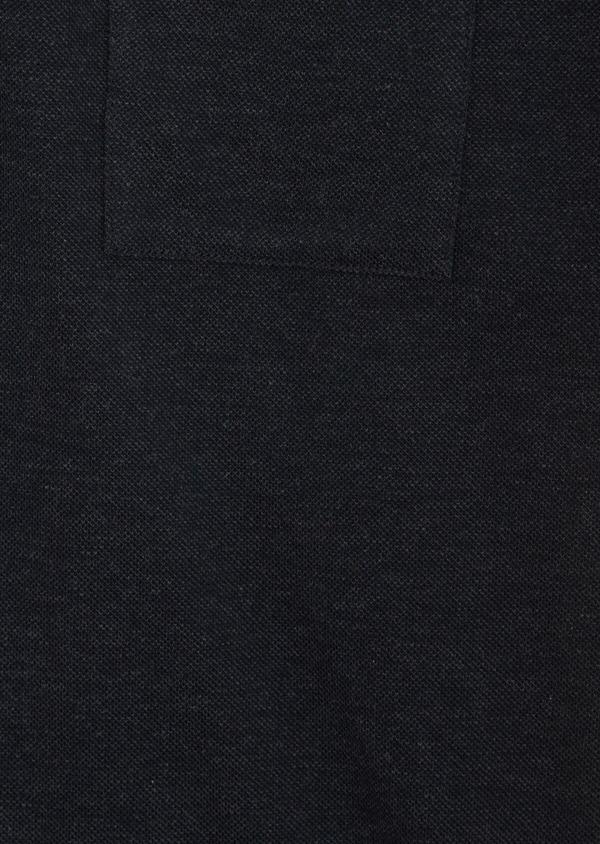 Polo manches courtes Slim en coton uni gris anthracite à col officier - Father and Sons 39874