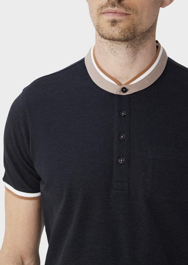 Polo manches courtes Slim en coton uni gris anthracite à col officier - Father and Sons 39877