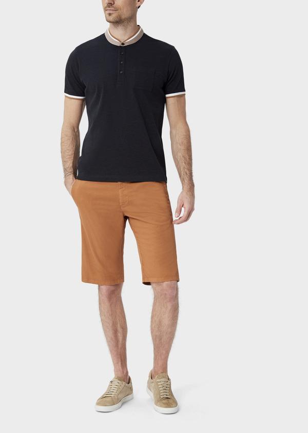 Polo manches courtes Slim en coton uni gris anthracite à col officier - Father and Sons 39875