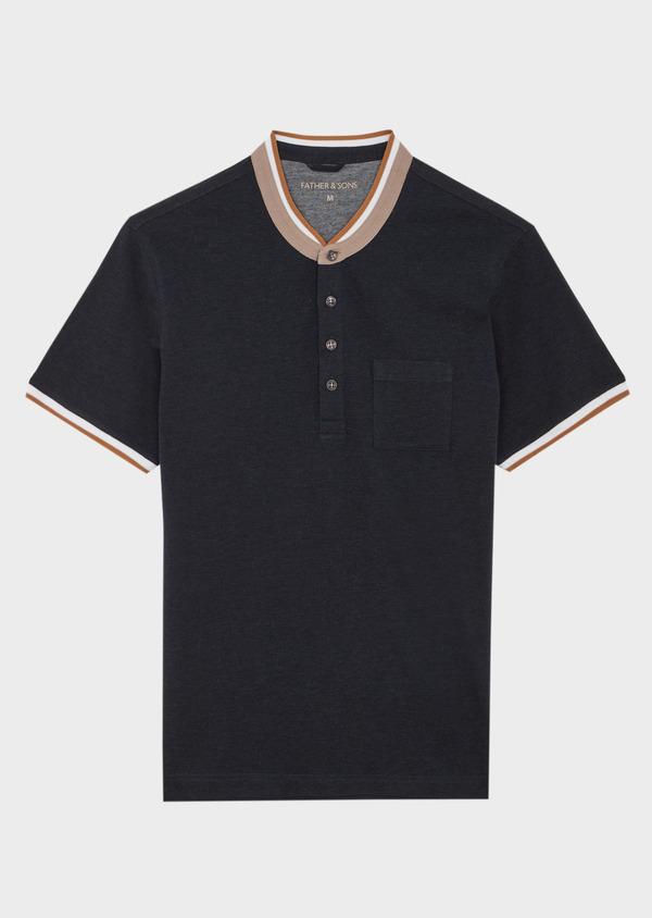 Polo manches courtes Slim en coton uni gris anthracite à col officier - Father and Sons 39873