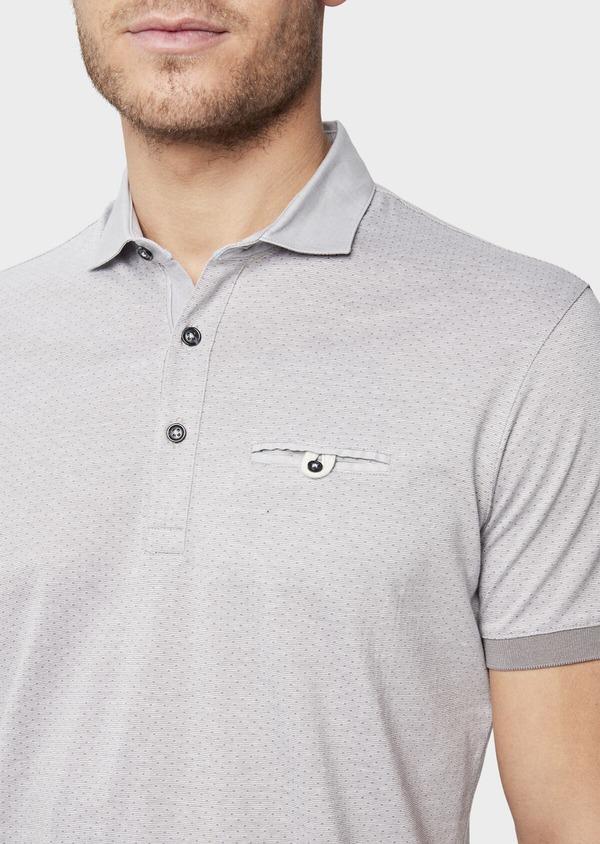 Polo manches courtes Slim en coton gris à motif fantaisie - Father and Sons 38752