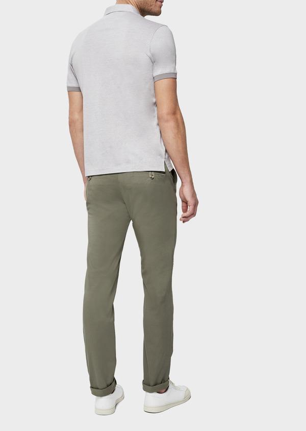 Polo manches courtes Slim en coton gris à motif fantaisie - Father and Sons 38751