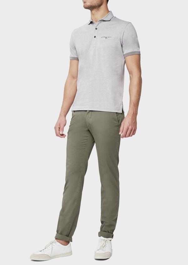 Polo manches courtes Slim en coton gris à motif fantaisie - Father and Sons 38750