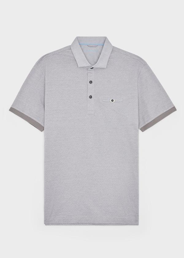 Polo manches courtes Slim en coton gris à motif fantaisie - Father and Sons 38748