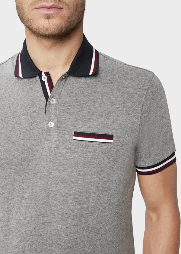Polo manches courtes Slim en coton uni gris chiné - Father and Sons 38769