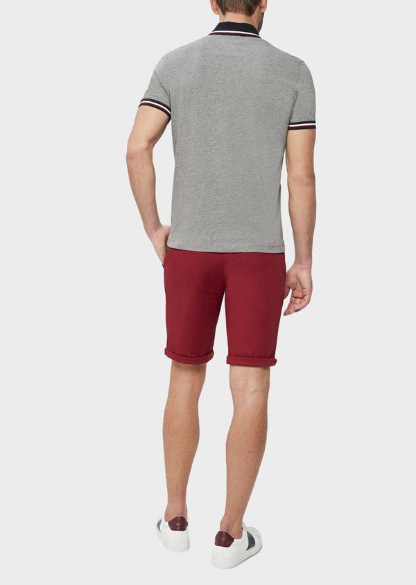 Polo manches courtes Slim en coton uni gris chiné - Father and Sons 38768