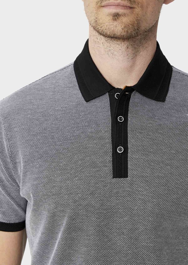 Polo manches courtes Slim en coton uni gris anthracite - Father and Sons 39907