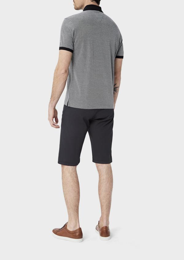 Polo manches courtes Slim en coton uni gris anthracite - Father and Sons 39906