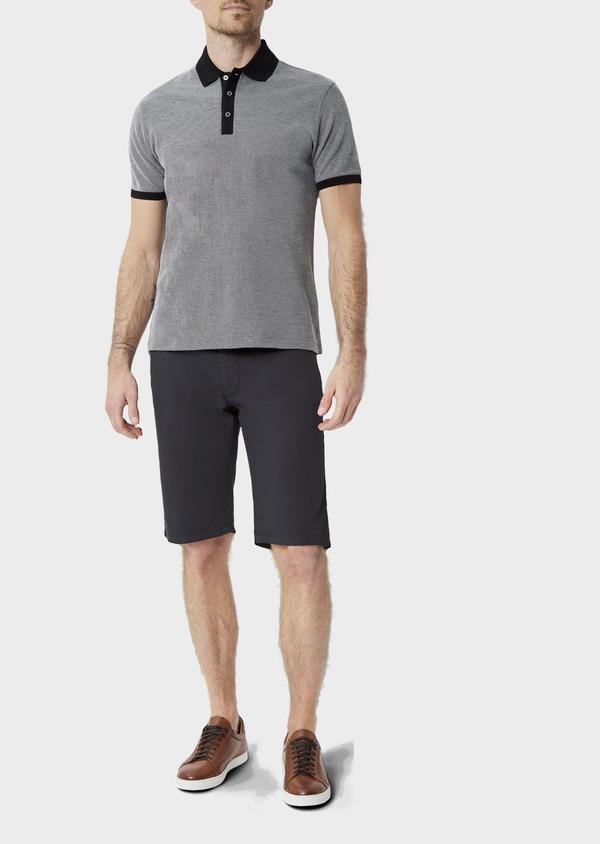 Polo manches courtes Slim en coton uni gris anthracite - Father and Sons 39905